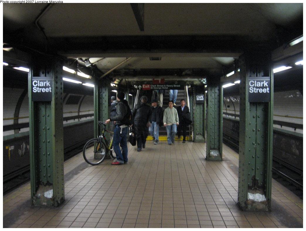 (157k, 1044x788)<br><b>Country:</b> United States<br><b>City:</b> New York<br><b>System:</b> New York City Transit<br><b>Line:</b> IRT Brooklyn Line<br><b>Location:</b> Clark Street <br><b>Photo by:</b> Lorraine Maruska<br><b>Date:</b> 4/11/2007<br><b>Viewed (this week/total):</b> 0 / 2871