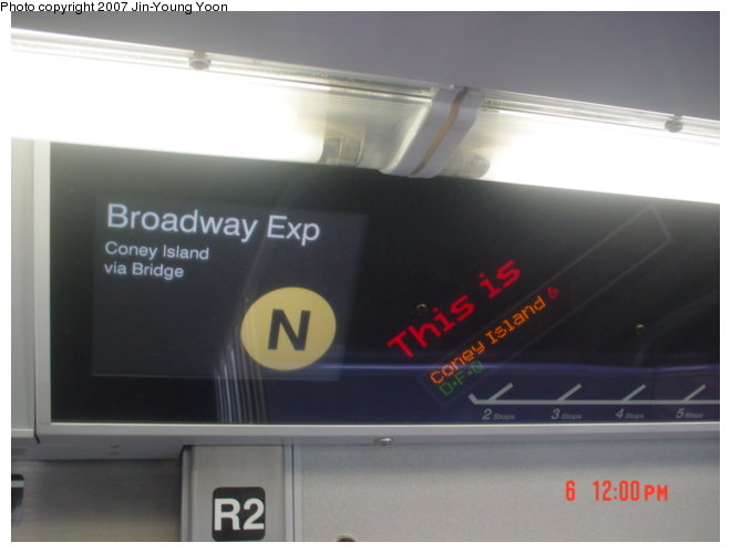 (43k, 660x500)<br><b>Country:</b> United States<br><b>City:</b> New York<br><b>System:</b> New York City Transit<br><b>Route:</b> N<br><b>Car:</b> R-160B (Kawasaki, 2005-2008)  8728 <br><b>Photo by:</b> Jin-Young Yoon<br><b>Date:</b> 4/6/2007<br><b>Notes:</b> Interior route display (FIND).<br><b>Viewed (this week/total):</b> 0 / 2186
