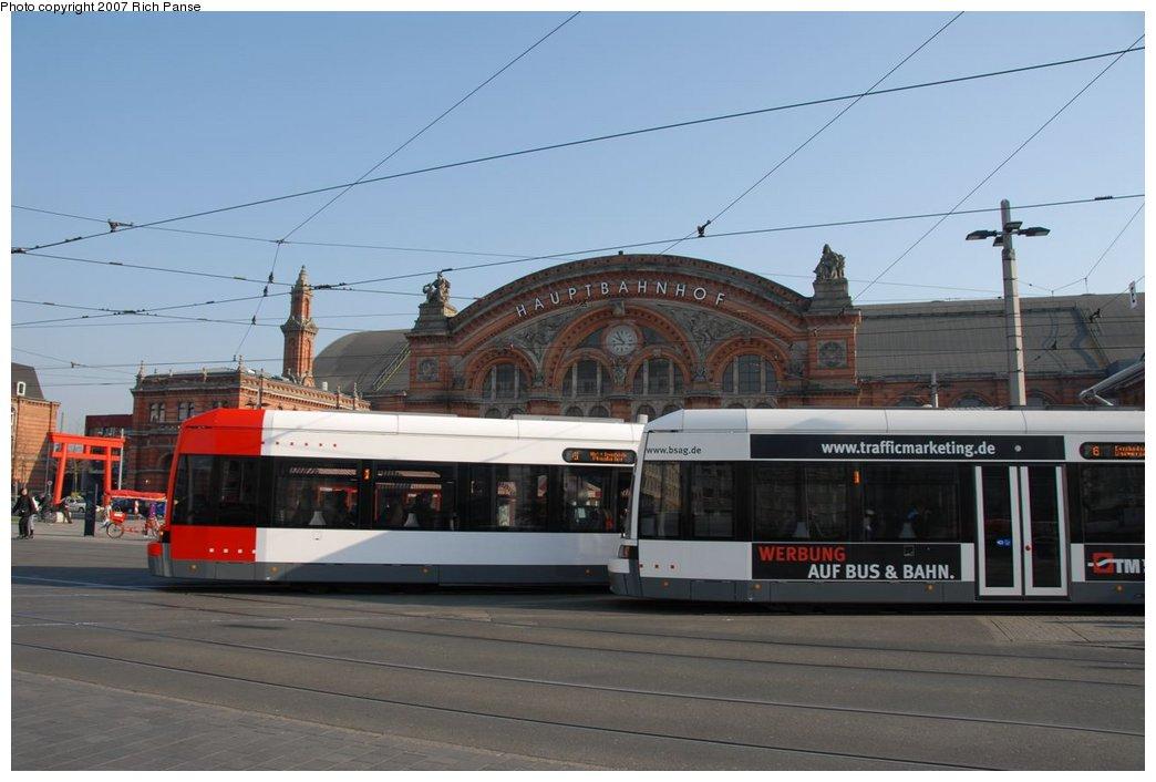 (143k, 1044x706)<br><b>Country:</b> Germany<br><b>City:</b> Bremen<br><b>System:</b> BSAG (Bremer Strassenbahn AG)<br><b>Location:</b> Hauptbahnhof <br><b>Route:</b> 6<br><b>Car:</b> Bremen Tram  <br><b>Photo by:</b> Richard Panse<br><b>Date:</b> 3/26/2007<br><b>Viewed (this week/total):</b> 0 / 963