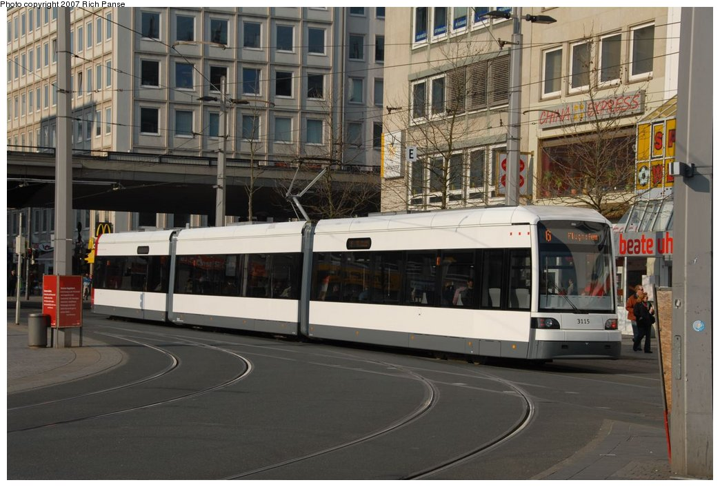 (184k, 1044x706)<br><b>Country:</b> Germany<br><b>City:</b> Bremen<br><b>System:</b> BSAG (Bremer Strassenbahn AG)<br><b>Location:</b> Hauptbahnhof <br><b>Route:</b> 6<br><b>Car:</b> Duewag GT8N-1  3115 <br><b>Photo by:</b> Richard Panse<br><b>Date:</b> 3/26/2007<br><b>Viewed (this week/total):</b> 0 / 708