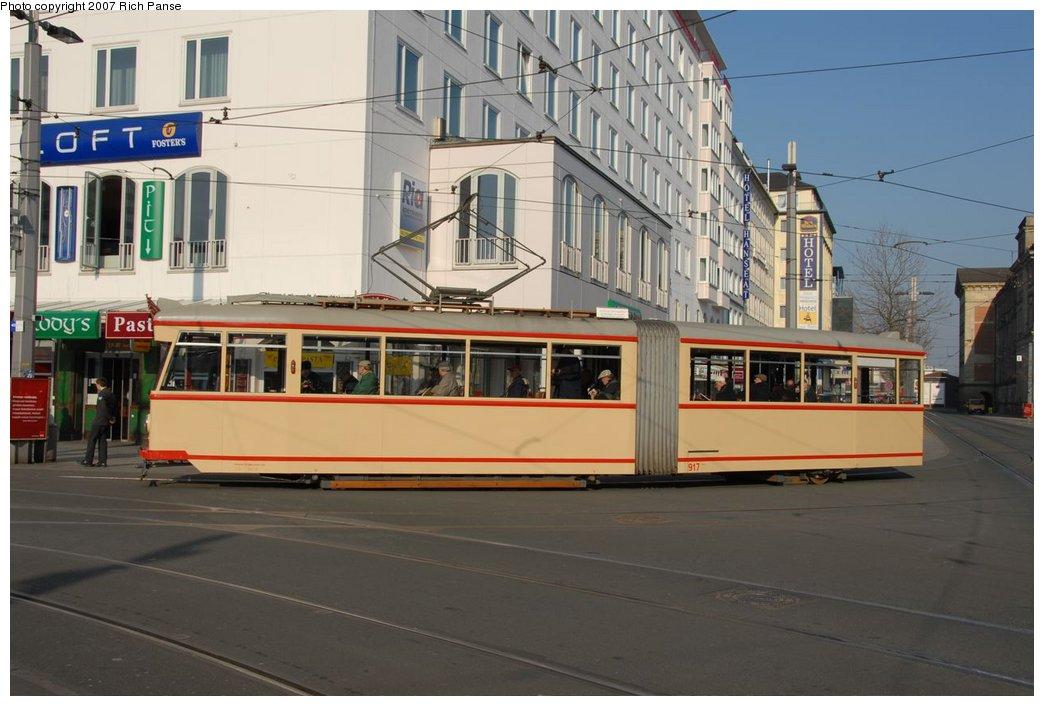 (164k, 1044x706)<br><b>Country:</b> Germany<br><b>City:</b> Bremen<br><b>System:</b> BSAG (Bremer Strassenbahn AG)<br><b>Location:</b> Hauptbahnhof <br><b>Route:</b> Fan Trip<br><b>Car:</b> Bremen Tram 917 <br><b>Photo by:</b> Richard Panse<br><b>Date:</b> 3/26/2007<br><b>Viewed (this week/total):</b> 0 / 649
