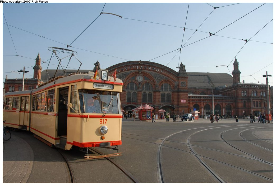 (154k, 1044x706)<br><b>Country:</b> Germany<br><b>City:</b> Bremen<br><b>System:</b> BSAG (Bremer Strassenbahn AG)<br><b>Location:</b> Hauptbahnhof <br><b>Route:</b> Fan Trip<br><b>Car:</b> Bremen Tram 917 <br><b>Photo by:</b> Richard Panse<br><b>Date:</b> 3/26/2007<br><b>Viewed (this week/total):</b> 0 / 654