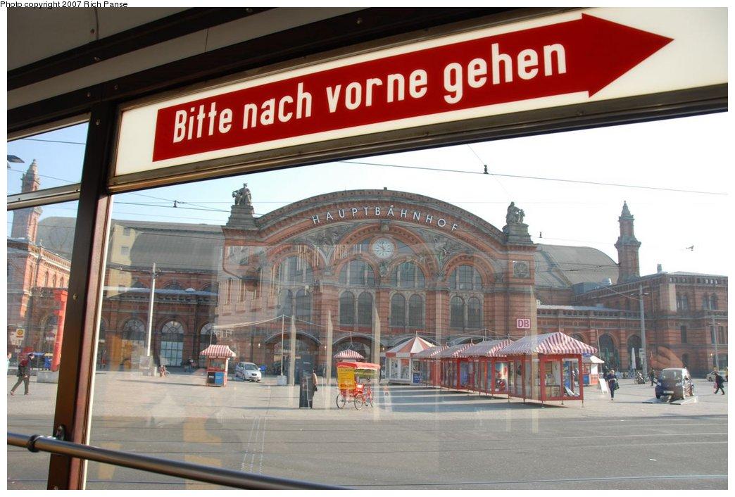 (175k, 1044x706)<br><b>Country:</b> Germany<br><b>City:</b> Bremen<br><b>System:</b> BSAG (Bremer Strassenbahn AG)<br><b>Location:</b> Hauptbahnhof <br><b>Route:</b> Fan Trip<br><b>Car:</b> Bremen Tram 917 <br><b>Photo by:</b> Richard Panse<br><b>Date:</b> 3/26/2007<br><b>Viewed (this week/total):</b> 2 / 657