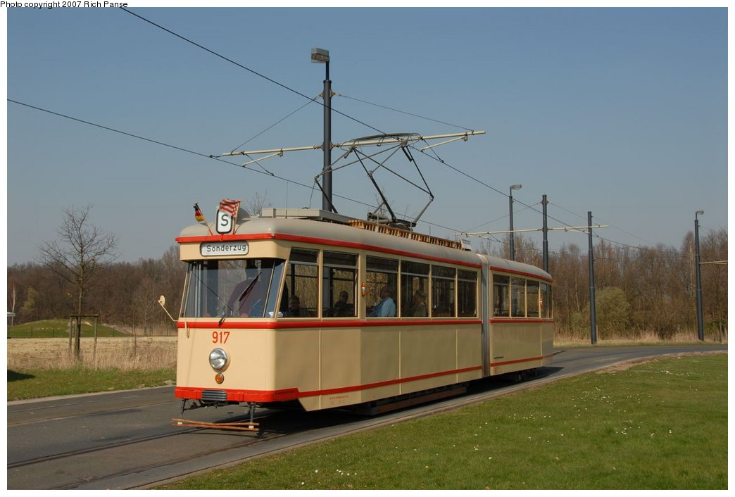 (140k, 1044x706)<br><b>Country:</b> Germany<br><b>City:</b> Bremen<br><b>System:</b> BSAG (Bremer Strassenbahn AG)<br><b>Location:</b> Klagenfurter Strasse <br><b>Route:</b> Fan Trip<br><b>Car:</b> Bremen Tram 917 <br><b>Photo by:</b> Richard Panse<br><b>Date:</b> 3/26/2007<br><b>Viewed (this week/total):</b> 0 / 765