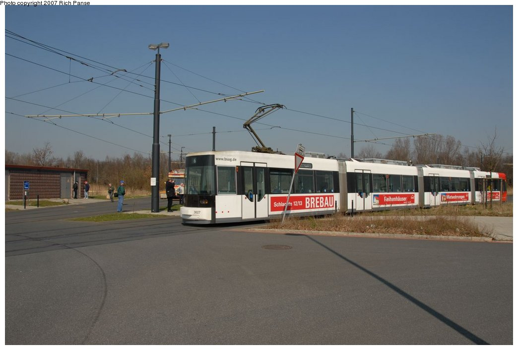 (129k, 1044x706)<br><b>Country:</b> Germany<br><b>City:</b> Bremen<br><b>System:</b> BSAG (Bremer Strassenbahn AG)<br><b>Location:</b> Klagenfurter Strasse <br><b>Route:</b> 6<br><b>Car:</b> Duewag GT8N  3027 <br><b>Photo by:</b> Richard Panse<br><b>Date:</b> 3/26/2007<br><b>Viewed (this week/total):</b> 1 / 571