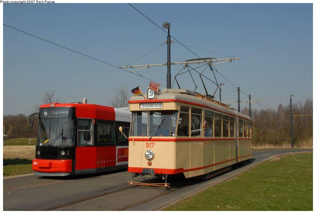 (131k, 1044x706)<br><b>Country:</b> Germany<br><b>City:</b> Bremen<br><b>System:</b> BSAG (Bremer Strassenbahn AG)<br><b>Location:</b> Klagenfurter Strasse <br><b>Route:</b> Fan Trip<br><b>Car:</b> Bremen Tram 917 <br><b>Photo by:</b> Richard Panse<br><b>Date:</b> 3/26/2007<br><b>Notes:</b> With 3027 on Rt. 6<br><b>Viewed (this week/total):</b> 0 / 719