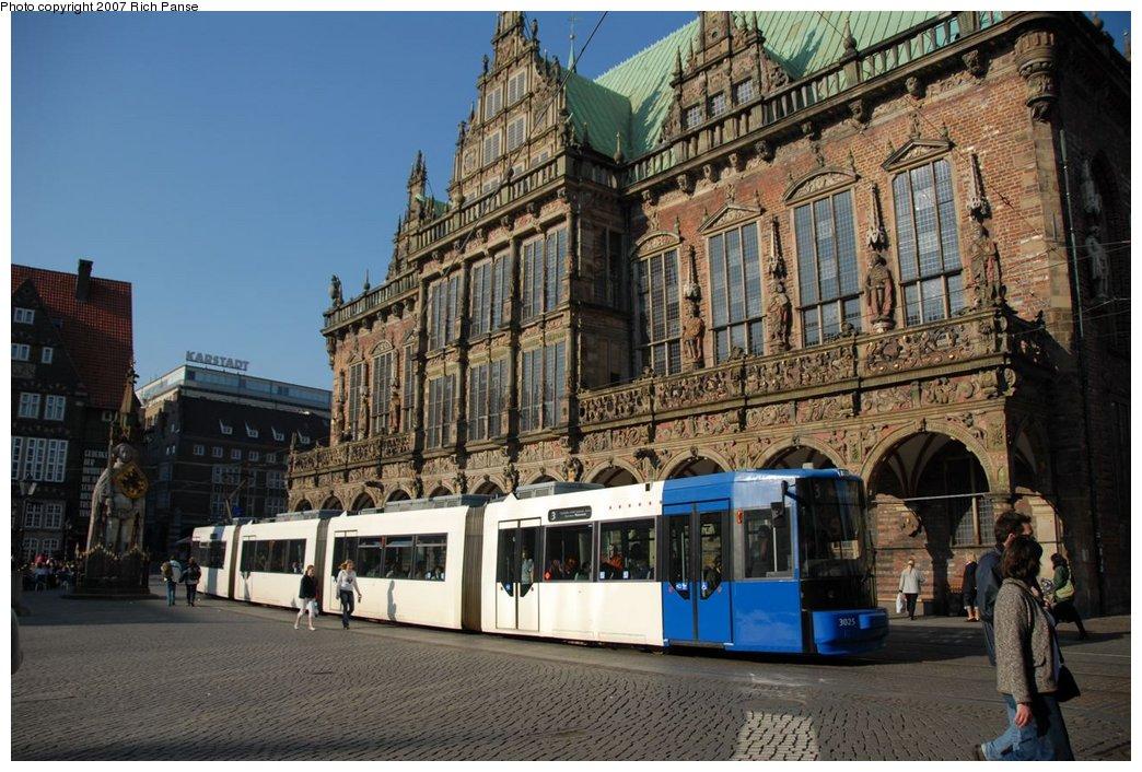 (214k, 1044x706)<br><b>Country:</b> Germany<br><b>City:</b> Bremen<br><b>System:</b> BSAG (Bremer Strassenbahn AG)<br><b>Location:</b> Rathaus <br><b>Route:</b> 3<br><b>Car:</b> Duewag GT8N  3025 <br><b>Photo by:</b> Richard Panse<br><b>Date:</b> 3/26/2007<br><b>Viewed (this week/total):</b> 0 / 739