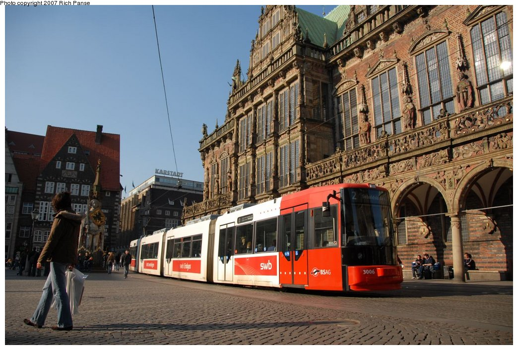 (218k, 1044x706)<br><b>Country:</b> Germany<br><b>City:</b> Bremen<br><b>System:</b> BSAG (Bremer Strassenbahn AG)<br><b>Location:</b> Rathaus <br><b>Route:</b> 2<br><b>Car:</b> Duewag GT8N  3006 <br><b>Photo by:</b> Richard Panse<br><b>Date:</b> 3/26/2007<br><b>Viewed (this week/total):</b> 1 / 578