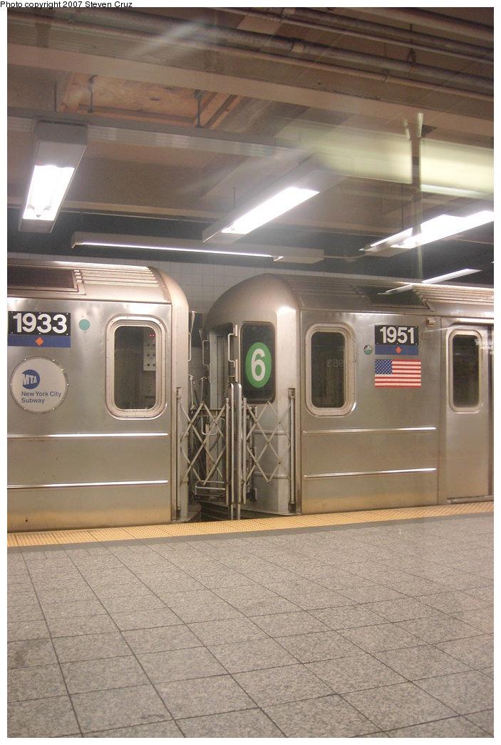 (150k, 703x1045)<br><b>Country:</b> United States<br><b>City:</b> New York<br><b>System:</b> New York City Transit<br><b>Line:</b> IRT Times Square-Grand Central Shuttle<br><b>Location:</b> Grand Central <br><b>Route:</b> S<br><b>Car:</b> R-62A (Bombardier, 1984-1987)  1951 <br><b>Photo by:</b> Steven Cruz<br><b>Date:</b> 11/7/2006<br><b>Notes:</b> Note #6 rollsign.<br><b>Viewed (this week/total):</b> 5 / 2988