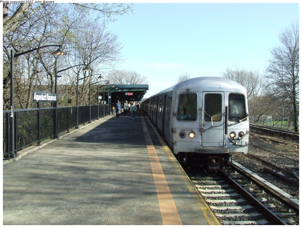 (236k, 1044x788)<br><b>Country:</b> United States<br><b>City:</b> New York<br><b>System:</b> New York City Transit<br><b>Line:</b> IND Rockaway<br><b>Location:</b> Aqueduct Racetrack <br><b>Route:</b> A<br><b>Car:</b> R-44 (St. Louis, 1971-73) 5250 <br><b>Photo by:</b> John Barnes<br><b>Date:</b> 4/21/2007<br><b>Viewed (this week/total):</b> 3 / 3868