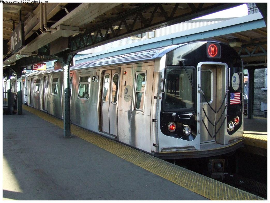 (196k, 1044x788)<br><b>Country:</b> United States<br><b>City:</b> New York<br><b>System:</b> New York City Transit<br><b>Line:</b> BMT Nassau Street/Jamaica Line<br><b>Location:</b> Myrtle Avenue <br><b>Route:</b> M<br><b>Car:</b> R-143 (Kawasaki, 2001-2002) 8141 <br><b>Photo by:</b> John Barnes<br><b>Date:</b> 4/21/2007<br><b>Viewed (this week/total):</b> 0 / 3365
