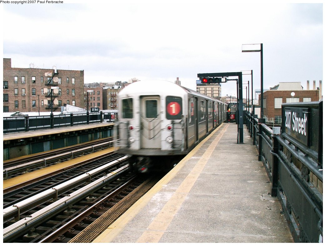 (237k, 1044x788)<br><b>Country:</b> United States<br><b>City:</b> New York<br><b>System:</b> New York City Transit<br><b>Line:</b> IRT West Side Line<br><b>Location:</b> 207th Street <br><b>Route:</b> 1<br><b>Car:</b> R-62A (Bombardier, 1984-1987)  2265 <br><b>Photo by:</b> Paul Ferbrache<br><b>Date:</b> 4/5/2007<br><b>Viewed (this week/total):</b> 1 / 2242