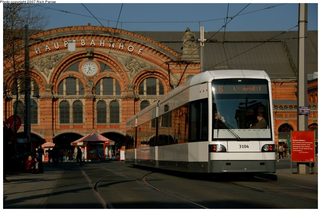 (144k, 1044x688)<br><b>Country:</b> Germany<br><b>City:</b> Bremen<br><b>System:</b> BSAG (Bremer Strassenbahn AG)<br><b>Location:</b> Hauptbahnhof <br><b>Car:</b> Duewag GT8N-1  3104 <br><b>Photo by:</b> Richard Panse<br><b>Date:</b> 3/26/2007<br><b>Viewed (this week/total):</b> 0 / 693