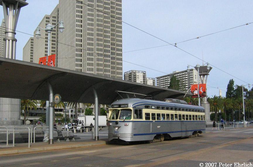 (198k, 864x570)<br><b>Country:</b> United States<br><b>City:</b> San Francisco/Bay Area, CA<br><b>System:</b> SF MUNI<br><b>Location:</b> Embarcadero/Ferry Building <br><b>Car:</b> SF MUNI PCC (Ex-SEPTA) (St. Louis Car Co., 1947-1948)  1060 <br><b>Photo by:</b> Peter Ehrlich<br><b>Date:</b> 5/3/2007<br><b>Notes:</b> Ferry Building outbound.<br><b>Viewed (this week/total):</b> 0 / 672