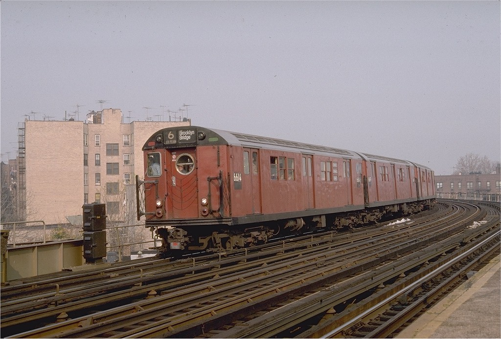 (210k, 1024x694)<br><b>Country:</b> United States<br><b>City:</b> New York<br><b>System:</b> New York City Transit<br><b>Line:</b> IRT Pelham Line<br><b>Location:</b> Buhre Avenue <br><b>Route:</b> Fan Trip<br><b>Car:</b> R-17 (St. Louis, 1955-56) 6614 <br><b>Photo by:</b> Steve Zabel<br><b>Collection of:</b> Joe Testagrose<br><b>Date:</b> 11/8/1987<br><b>Viewed (this week/total):</b> 1 / 2582