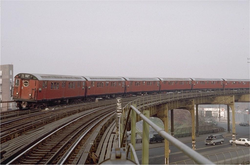 (184k, 1024x678)<br><b>Country:</b> United States<br><b>City:</b> New York<br><b>System:</b> New York City Transit<br><b>Line:</b> IRT Pelham Line<br><b>Location:</b> Whitlock Avenue <br><b>Route:</b> Fan Trip<br><b>Car:</b> R-17 (St. Louis, 1955-56) 6614 <br><b>Photo by:</b> Steve Zabel<br><b>Collection of:</b> Joe Testagrose<br><b>Date:</b> 11/8/1987<br><b>Viewed (this week/total):</b> 0 / 3598
