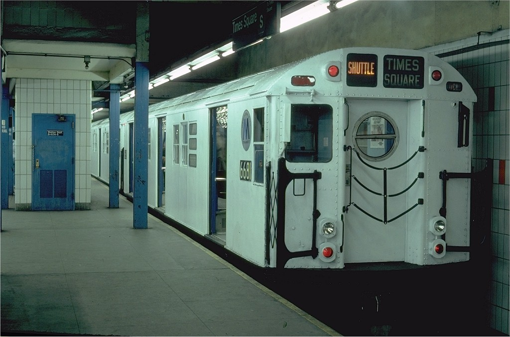 (162k, 1024x678)<br><b>Country:</b> United States<br><b>City:</b> New York<br><b>System:</b> New York City Transit<br><b>Line:</b> IRT Times Square-Grand Central Shuttle<br><b>Location:</b> Grand Central <br><b>Route:</b> S<br><b>Car:</b> R-17 (St. Louis, 1955-56) 6681 <br><b>Photo by:</b> Steve Zabel<br><b>Collection of:</b> Joe Testagrose<br><b>Date:</b> 2/16/1982<br><b>Viewed (this week/total):</b> 2 / 3277