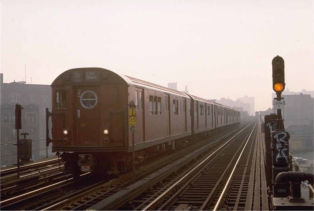(162k, 1024x690)<br><b>Country:</b> United States<br><b>City:</b> New York<br><b>System:</b> New York City Transit<br><b>Line:</b> IRT White Plains Road Line<br><b>Location:</b> Intervale Avenue <br><b>Route:</b> Fan Trip<br><b>Car:</b> R-17 (St. Louis, 1955-56) 6688 <br><b>Photo by:</b> Steve Zabel<br><b>Collection of:</b> Joe Testagrose<br><b>Date:</b> 11/8/1987<br><b>Viewed (this week/total):</b> 2 / 2610