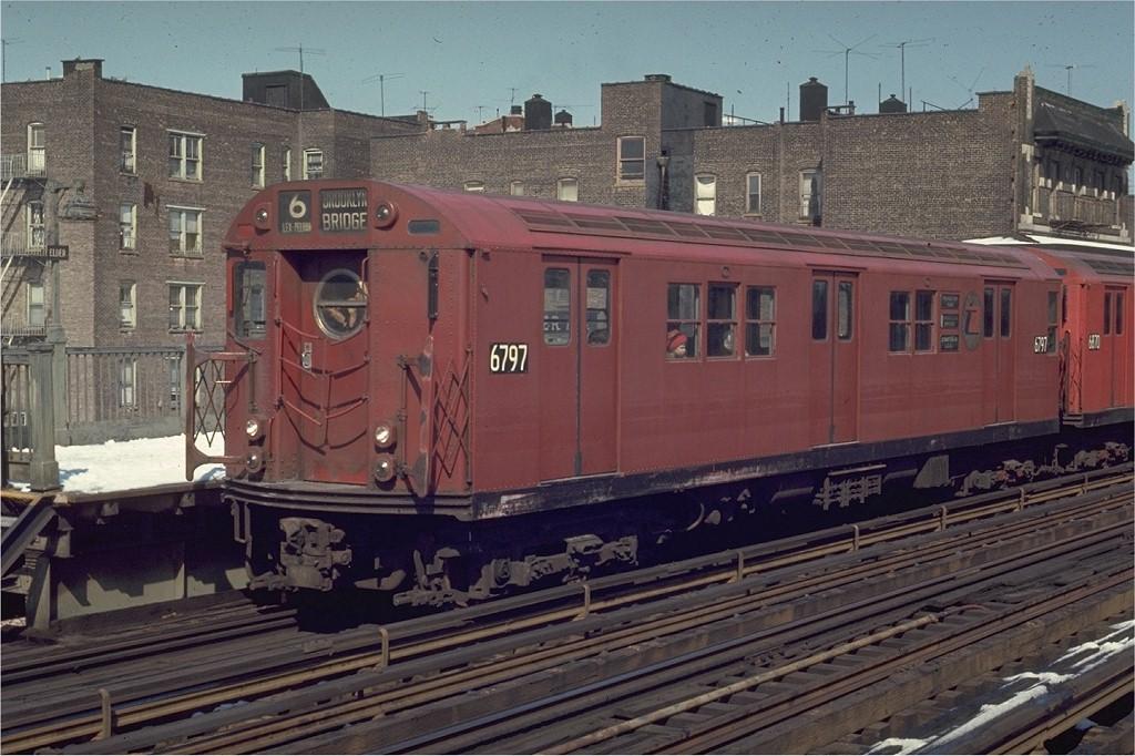 (204k, 1024x682)<br><b>Country:</b> United States<br><b>City:</b> New York<br><b>System:</b> New York City Transit<br><b>Line:</b> IRT Pelham Line<br><b>Location:</b> Elder Avenue <br><b>Route:</b> 6<br><b>Car:</b> R-17 (St. Louis, 1955-56) 6797 <br><b>Photo by:</b> Joe Testagrose<br><b>Date:</b> 3/30/1970<br><b>Viewed (this week/total):</b> 0 / 1438