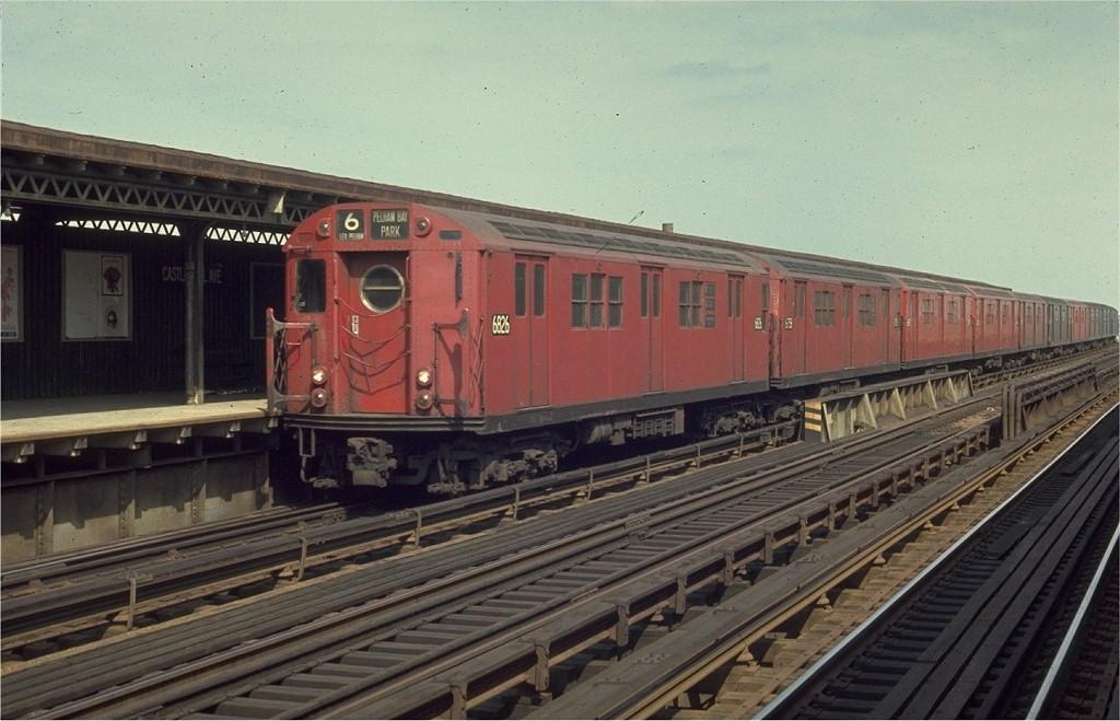 (177k, 1024x659)<br><b>Country:</b> United States<br><b>City:</b> New York<br><b>System:</b> New York City Transit<br><b>Line:</b> IRT Pelham Line<br><b>Location:</b> Castle Hill Avenue <br><b>Route:</b> 6<br><b>Car:</b> R-17 (St. Louis, 1955-56) 6826 <br><b>Photo by:</b> Joe Testagrose<br><b>Date:</b> 4/4/1970<br><b>Viewed (this week/total):</b> 1 / 1732