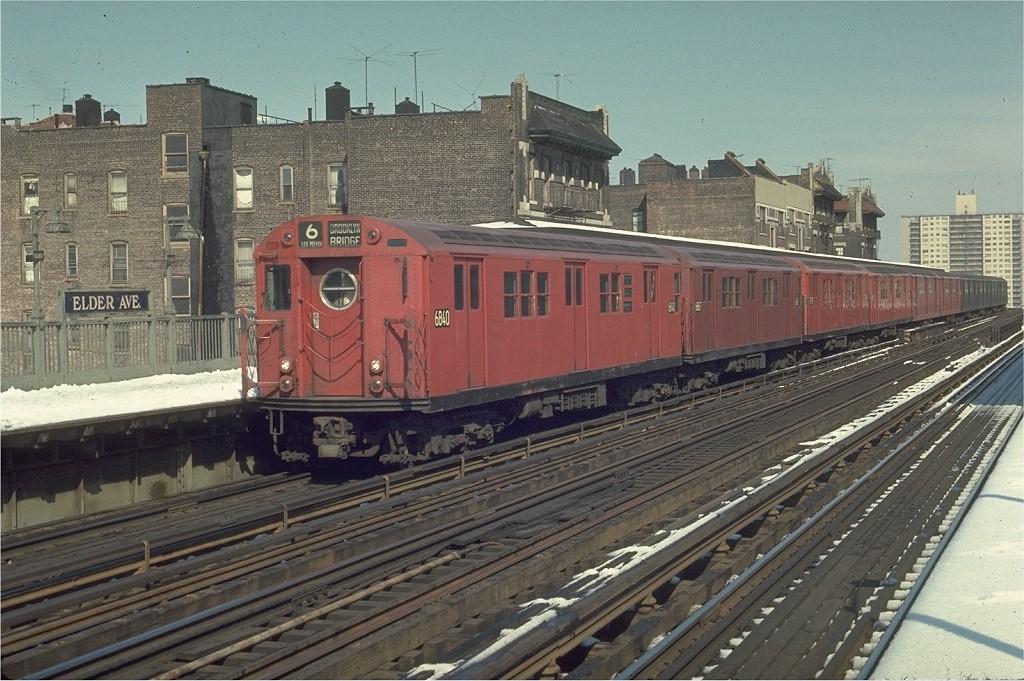 (229k, 1024x681)<br><b>Country:</b> United States<br><b>City:</b> New York<br><b>System:</b> New York City Transit<br><b>Line:</b> IRT Pelham Line<br><b>Location:</b> Elder Avenue <br><b>Route:</b> 6<br><b>Car:</b> R-17 (St. Louis, 1955-56) 6840 <br><b>Photo by:</b> Joe Testagrose<br><b>Date:</b> 3/30/1970<br><b>Viewed (this week/total):</b> 0 / 1853