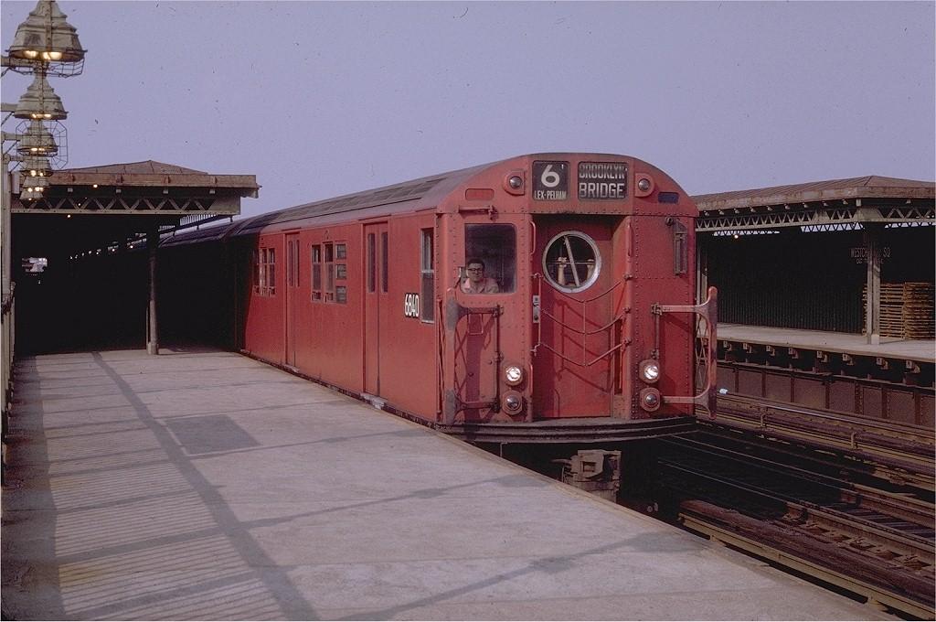 (192k, 1024x680)<br><b>Country:</b> United States<br><b>City:</b> New York<br><b>System:</b> New York City Transit<br><b>Line:</b> IRT Pelham Line<br><b>Location:</b> Westchester Square <br><b>Route:</b> 6<br><b>Car:</b> R-17 (St. Louis, 1955-56) 6840 <br><b>Photo by:</b> Joe Testagrose<br><b>Date:</b> 7/11/1970<br><b>Viewed (this week/total):</b> 0 / 1814