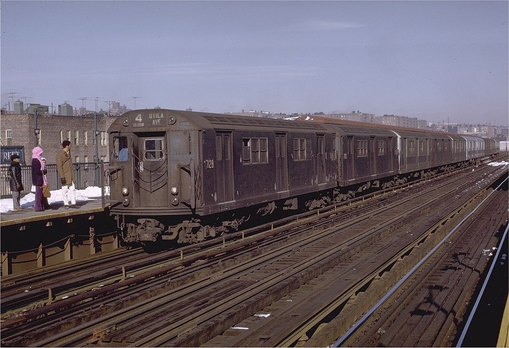 (244k, 1024x701)<br><b>Country:</b> United States<br><b>City:</b> New York<br><b>System:</b> New York City Transit<br><b>Line:</b> IRT Woodlawn Line<br><b>Location:</b> 167th Street <br><b>Route:</b> 4<br><b>Car:</b> R-21 (St. Louis, 1956-57) 7128 <br><b>Photo by:</b> Joe Testagrose<br><b>Date:</b> 1/2/1971<br><b>Viewed (this week/total):</b> 2 / 2579