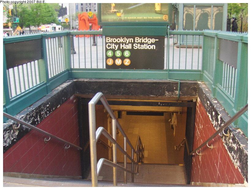 (122k, 820x622)<br><b>Country:</b> United States<br><b>City:</b> New York<br><b>System:</b> New York City Transit<br><b>Line:</b> IRT East Side Line<br><b>Location:</b> Brooklyn Bridge/City Hall <br><b>Photo by:</b> Bill E.<br><b>Date:</b> 5/6/2007<br><b>Notes:</b> Station entrance.<br><b>Viewed (this week/total):</b> 1 / 4247