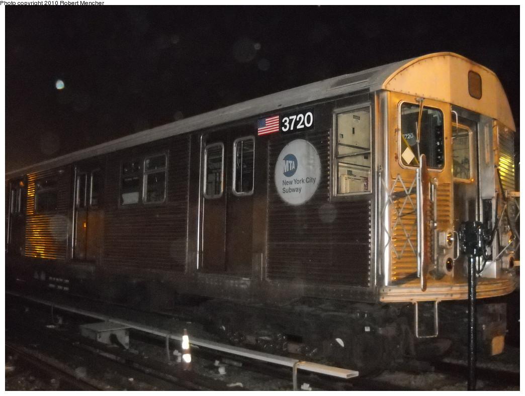 (228k, 1044x788)<br><b>Country:</b> United States<br><b>City:</b> New York<br><b>System:</b> New York City Transit<br><b>Location:</b> Jamaica Yard/Shops<br><b>Car:</b> R-32 (Budd, 1964)  3720 <br><b>Photo by:</b> Robert Mencher<br><b>Date:</b> 4/30/2010<br><b>Viewed (this week/total):</b> 0 / 1132