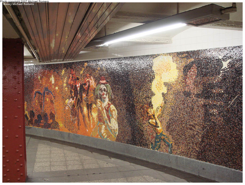 (314k, 1044x788)<br><b>Country:</b> United States<br><b>City:</b> New York<br><b>System:</b> New York City Transit<br><b>Line:</b> IRT West Side Line<br><b>Location:</b> 34th Street/Penn Station <br><b>Photo by:</b> Michael Romero<br><b>Date:</b> 4/29/2007<br><b>Artwork:</b> <i>Garden of Circus Delights</i>, Eric Fischl (2001).<br><b>Viewed (this week/total):</b> 0 / 1536