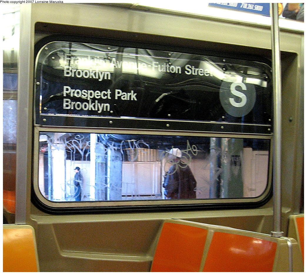 (354k, 1044x936)<br><b>Country:</b> United States<br><b>City:</b> New York<br><b>System:</b> New York City Transit<br><b>Route:</b> Work Service<br><b>Car:</b> R-68 (Westinghouse-Amrail, 1986-1988)  Interior <br><b>Photo by:</b> Lorraine Maruska<br><b>Date:</b> 5/6/2007<br><b>Notes:</b> Route sign in Franklin shuttle train.<br><b>Viewed (this week/total):</b> 0 / 3223
