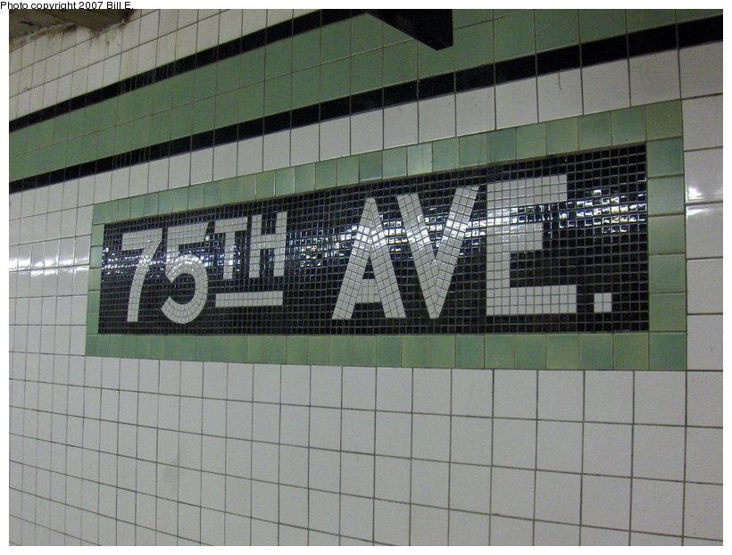 (114k, 820x622)<br><b>Country:</b> United States<br><b>City:</b> New York<br><b>System:</b> New York City Transit<br><b>Line:</b> IND Queens Boulevard Line<br><b>Location:</b> 75th Avenue <br><b>Photo by:</b> Bill E.<br><b>Date:</b> 5/13/2007<br><b>Viewed (this week/total):</b> 1 / 1706