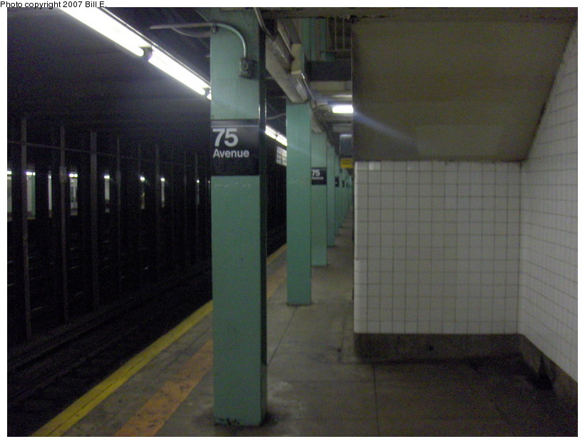(87k, 820x622)<br><b>Country:</b> United States<br><b>City:</b> New York<br><b>System:</b> New York City Transit<br><b>Line:</b> IND Queens Boulevard Line<br><b>Location:</b> 75th Avenue <br><b>Photo by:</b> Bill E.<br><b>Date:</b> 5/13/2007<br><b>Viewed (this week/total):</b> 1 / 2351