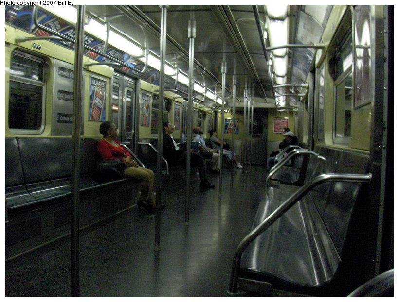 (122k, 820x622)<br><b>Country:</b> United States<br><b>City:</b> New York<br><b>System:</b> New York City Transit<br><b>Route:</b> E<br><b>Car:</b> R-32 (Budd, 1964)  Interior <br><b>Photo by:</b> Bill E.<br><b>Date:</b> 5/13/2007<br><b>Viewed (this week/total):</b> 2 / 2644