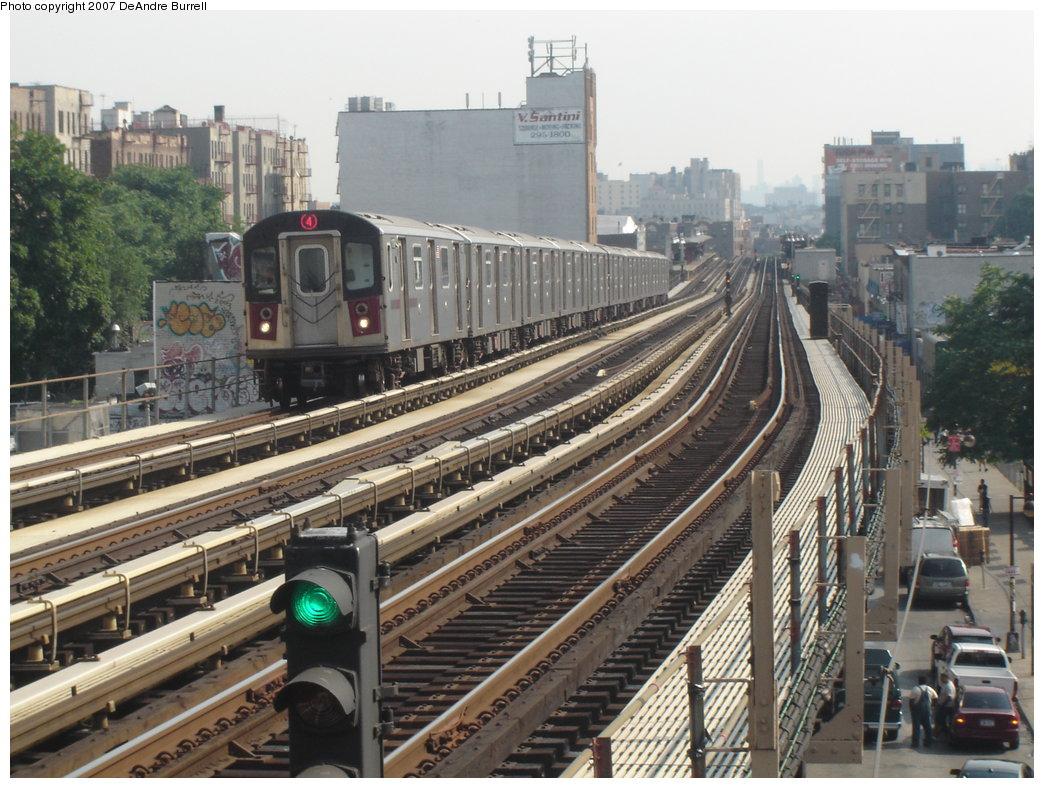 (216k, 1044x788)<br><b>Country:</b> United States<br><b>City:</b> New York<br><b>System:</b> New York City Transit<br><b>Line:</b> IRT Woodlawn Line<br><b>Location:</b> Fordham Road <br><b>Route:</b> 4<br><b>Car:</b> R-142 (Option Order, Bombardier, 2002-2003)  1176 <br><b>Photo by:</b> DeAndre Burrell<br><b>Date:</b> 6/22/2006<br><b>Viewed (this week/total):</b> 0 / 3536