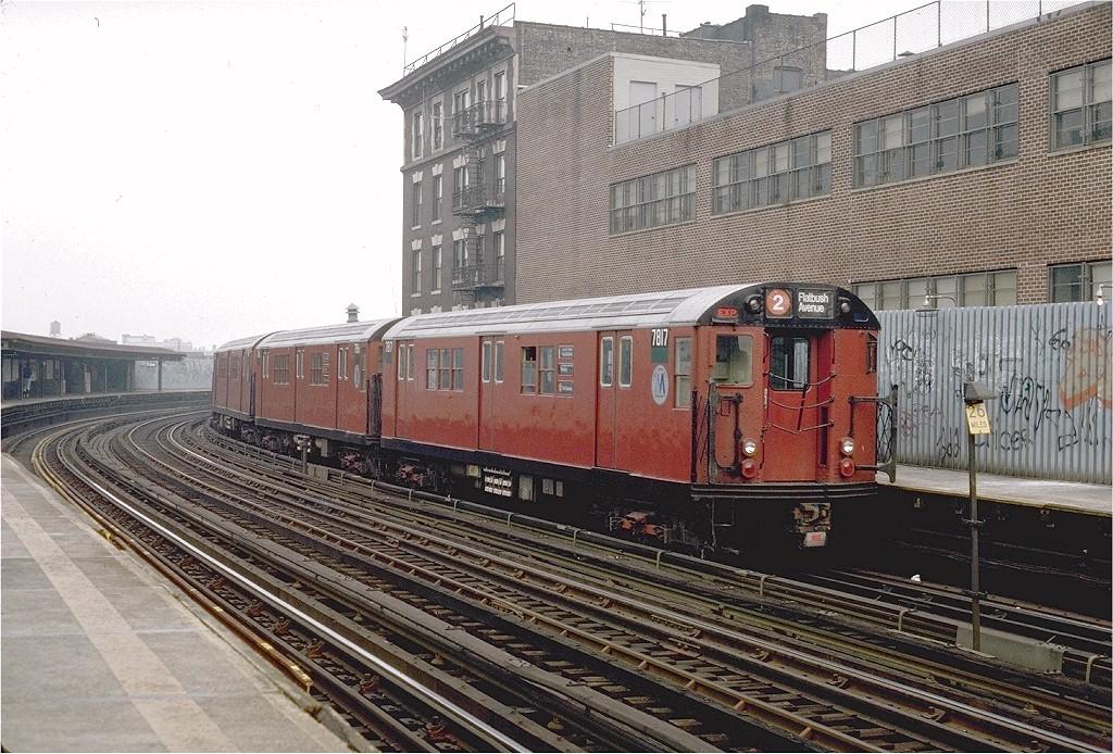(263k, 1024x694)<br><b>Country:</b> United States<br><b>City:</b> New York<br><b>System:</b> New York City Transit<br><b>Line:</b> IRT White Plains Road Line<br><b>Location:</b> 174th Street <br><b>Route:</b> 2<br><b>Car:</b> R-26 (American Car & Foundry, 1959-60) 7817 <br><b>Photo by:</b> Steve Zabel<br><b>Collection of:</b> Joe Testagrose<br><b>Date:</b> 11/8/1987<br><b>Viewed (this week/total):</b> 3 / 3538