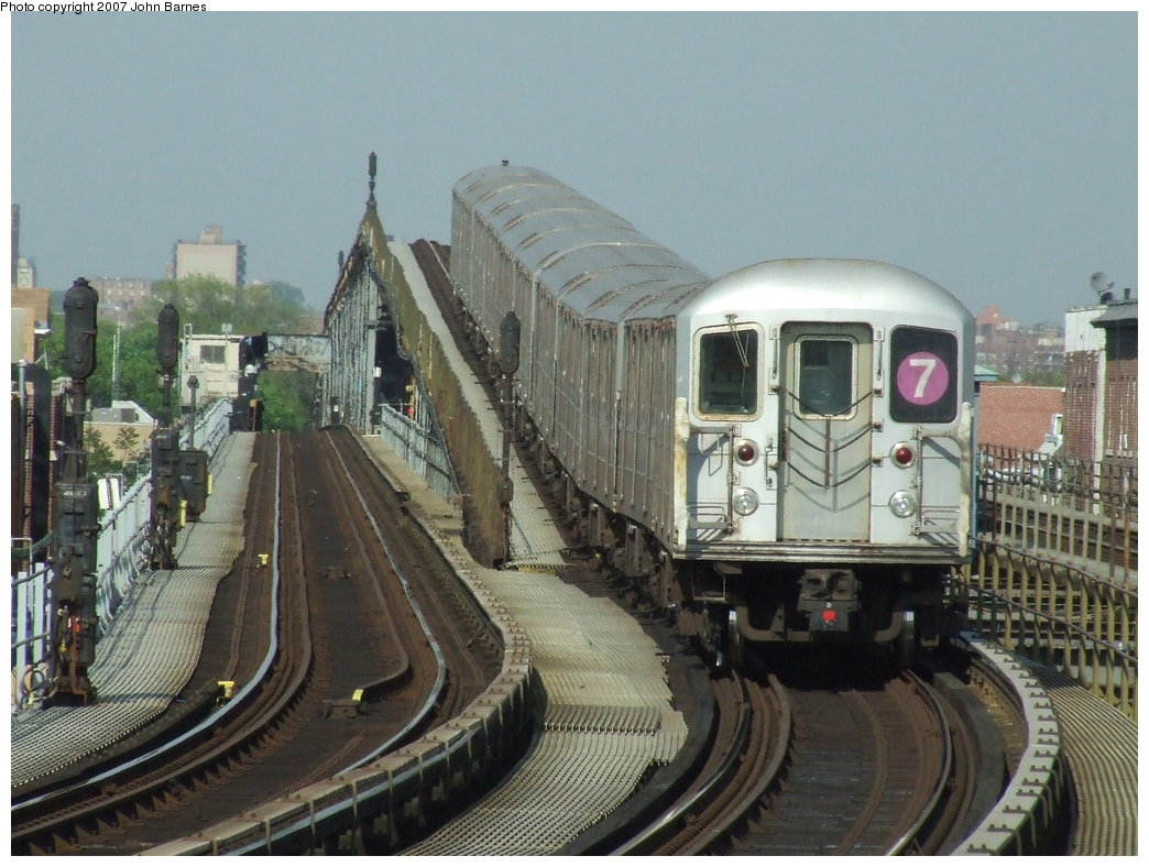 (184k, 1044x788)<br><b>Country:</b> United States<br><b>City:</b> New York<br><b>System:</b> New York City Transit<br><b>Line:</b> IRT Flushing Line<br><b>Location:</b> 103rd Street/Corona Plaza <br><b>Route:</b> 7<br><b>Car:</b> R-62A (Bombardier, 1984-1987)  1726 <br><b>Photo by:</b> John Barnes<br><b>Date:</b> 5/15/2007<br><b>Viewed (this week/total):</b> 1 / 2448