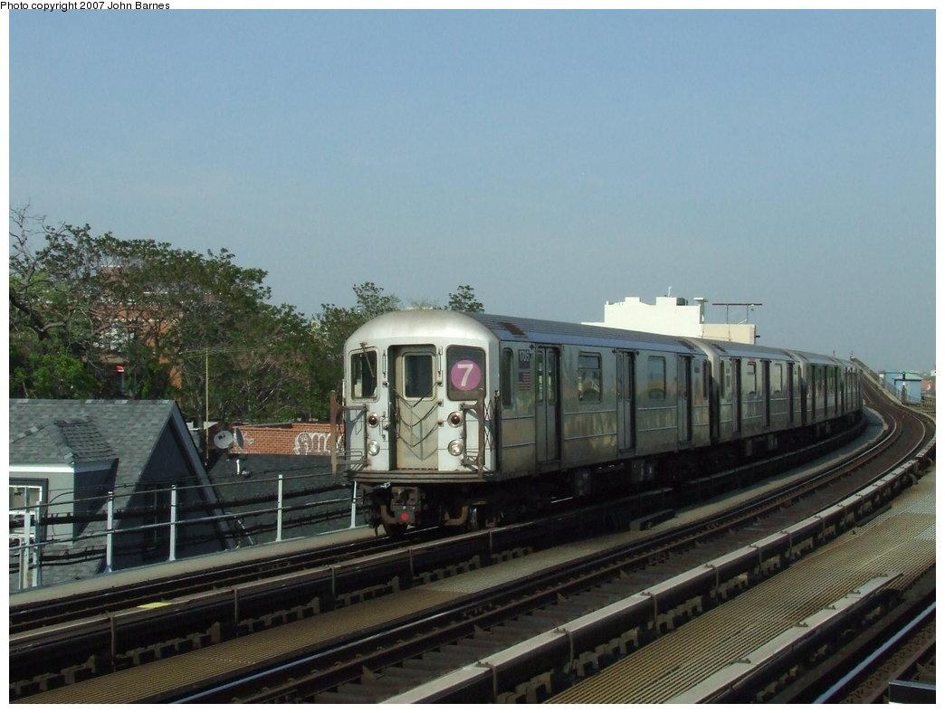 (157k, 1044x788)<br><b>Country:</b> United States<br><b>City:</b> New York<br><b>System:</b> New York City Transit<br><b>Line:</b> IRT Flushing Line<br><b>Location:</b> 103rd Street/Corona Plaza <br><b>Route:</b> 7<br><b>Car:</b> R-62A (Bombardier, 1984-1987)  1705 <br><b>Photo by:</b> John Barnes<br><b>Date:</b> 5/15/2007<br><b>Viewed (this week/total):</b> 1 / 1880