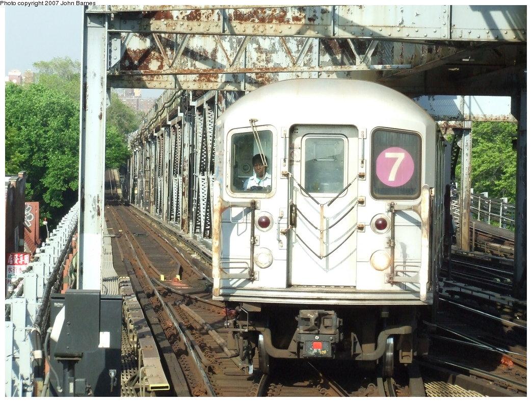 (244k, 1044x788)<br><b>Country:</b> United States<br><b>City:</b> New York<br><b>System:</b> New York City Transit<br><b>Line:</b> IRT Flushing Line<br><b>Location:</b> 111th Street <br><b>Route:</b> 7<br><b>Car:</b> R-62A (Bombardier, 1984-1987)   <br><b>Photo by:</b> John Barnes<br><b>Date:</b> 5/15/2007<br><b>Viewed (this week/total):</b> 0 / 2546