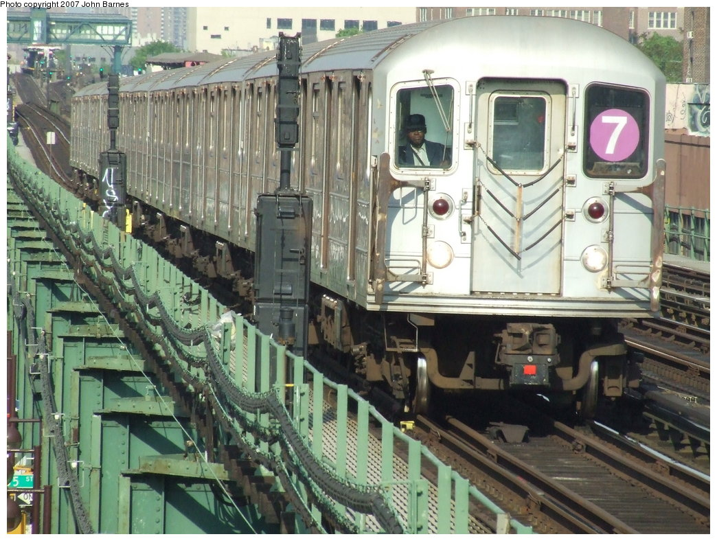 (224k, 1044x788)<br><b>Country:</b> United States<br><b>City:</b> New York<br><b>System:</b> New York City Transit<br><b>Line:</b> IRT Flushing Line<br><b>Location:</b> 82nd Street/Jackson Heights <br><b>Route:</b> 7<br><b>Car:</b> R-62A (Bombardier, 1984-1987)   <br><b>Photo by:</b> John Barnes<br><b>Date:</b> 5/15/2007<br><b>Viewed (this week/total):</b> 0 / 1767