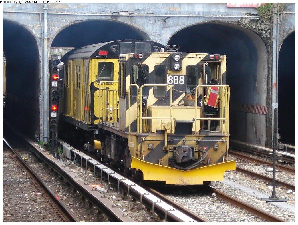 (219k, 1044x788)<br><b>Country:</b> United States<br><b>City:</b> New York<br><b>System:</b> New York City Transit<br><b>Line:</b> BMT Sea Beach Line<br><b>Location:</b> Kings Highway <br><b>Route:</b> Work Service<br><b>Car:</b> R-77 Locomotive  888 <br><b>Photo by:</b> Michael Hodurski<br><b>Date:</b> 5/19/2007<br><b>Notes:</b> Sea Beach line track reconstruction.<br><b>Viewed (this week/total):</b> 1 / 1862