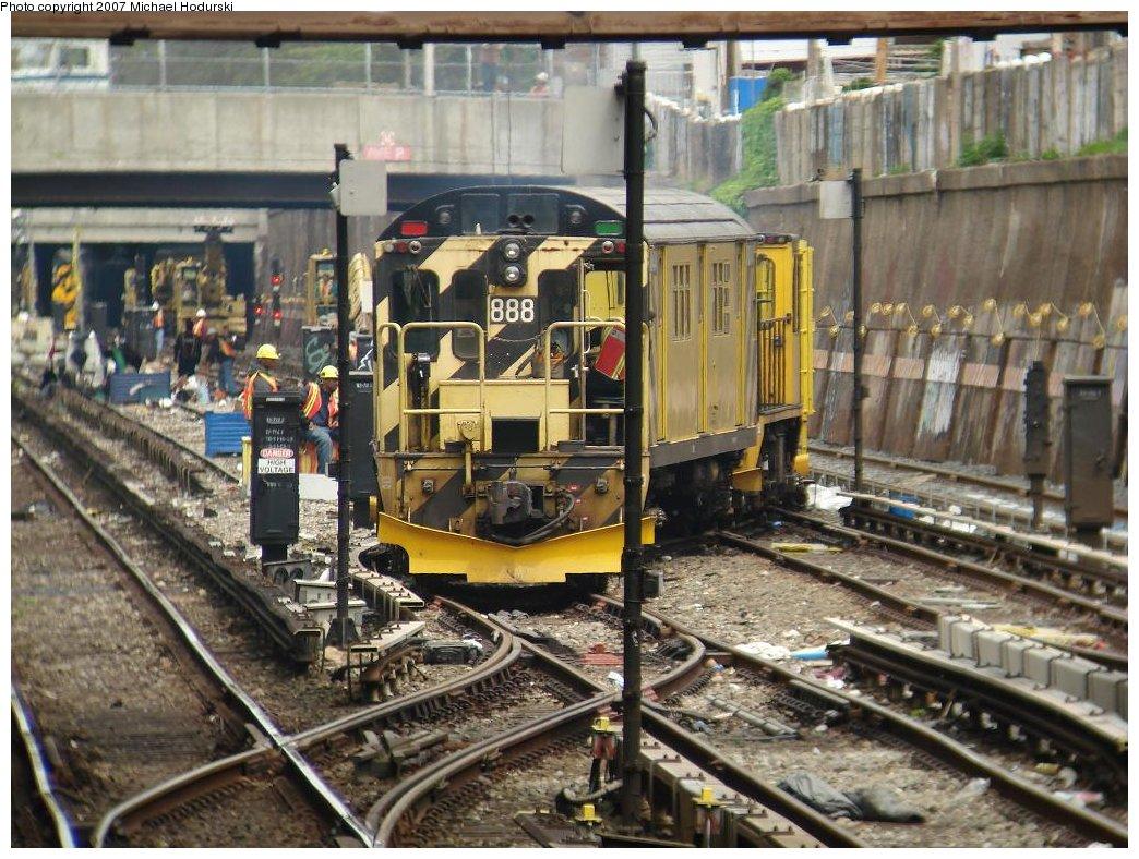 (229k, 1044x788)<br><b>Country:</b> United States<br><b>City:</b> New York<br><b>System:</b> New York City Transit<br><b>Line:</b> BMT Sea Beach Line<br><b>Location:</b> Kings Highway <br><b>Route:</b> Work Service<br><b>Car:</b> R-77 Locomotive  888 <br><b>Photo by:</b> Michael Hodurski<br><b>Date:</b> 5/19/2007<br><b>Notes:</b> Sea Beach line track reconstruction.<br><b>Viewed (this week/total):</b> 4 / 2669