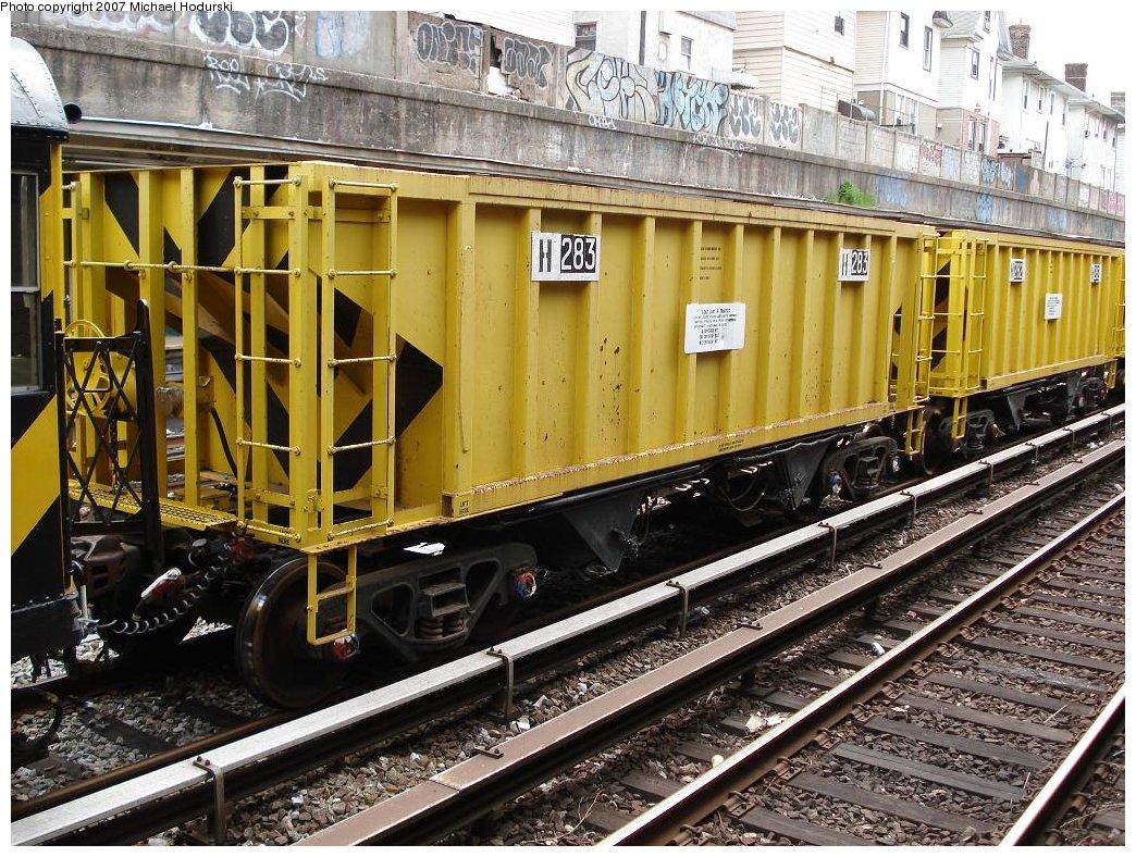 (273k, 1044x788)<br><b>Country:</b> United States<br><b>City:</b> New York<br><b>System:</b> New York City Transit<br><b>Line:</b> BMT Sea Beach Line<br><b>Location:</b> Kings Highway <br><b>Route:</b> Work Service<br><b>Car:</b> R-80 MoW Hopper (1983, Maxon)  283 <br><b>Photo by:</b> Michael Hodurski<br><b>Date:</b> 5/19/2007<br><b>Notes:</b> Sea Beach line track reconstruction.<br><b>Viewed (this week/total):</b> 0 / 1643