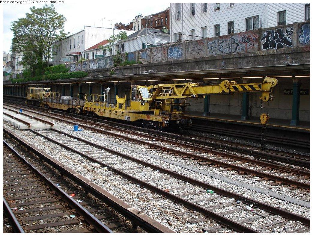 (315k, 1044x788)<br><b>Country:</b> United States<br><b>City:</b> New York<br><b>System:</b> New York City Transit<br><b>Line:</b> BMT Sea Beach Line<br><b>Location:</b> Bay Parkway (22nd Avenue) <br><b>Route:</b> Work Service<br><b>Car:</b> R-102 Crane Car  277 <br><b>Photo by:</b> Michael Hodurski<br><b>Date:</b> 5/19/2007<br><b>Notes:</b> Sea Beach line track reconstruction.<br><b>Viewed (this week/total):</b> 2 / 1952