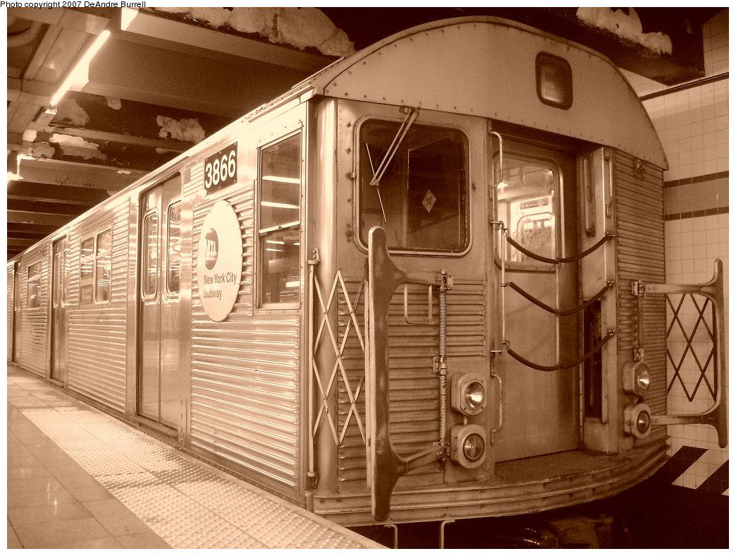 (221k, 1044x788)<br><b>Country:</b> United States<br><b>City:</b> New York<br><b>System:</b> New York City Transit<br><b>Line:</b> IND 8th Avenue Line<br><b>Location:</b> 14th Street <br><b>Route:</b> E<br><b>Car:</b> R-32 (Budd, 1964)  3866 <br><b>Photo by:</b> DeAndre Burrell<br><b>Date:</b> 12/30/2006<br><b>Viewed (this week/total):</b> 0 / 1745