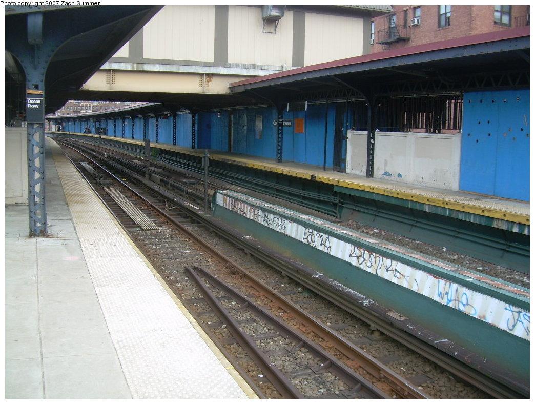 (218k, 1044x788)<br><b>Country:</b> United States<br><b>City:</b> New York<br><b>System:</b> New York City Transit<br><b>Line:</b> BMT Brighton Line<br><b>Location:</b> Ocean Parkway <br><b>Photo by:</b> Zach Summer<br><b>Date:</b> 5/19/2007<br><b>Notes:</b> New trackwork at Ocean Parkway.<br><b>Viewed (this week/total):</b> 0 / 1272