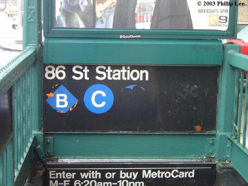 (87k, 800x601)<br><b>Country:</b> United States<br><b>City:</b> New York<br><b>System:</b> New York City Transit<br><b>Line:</b> IND 8th Avenue Line<br><b>Location:</b> 86th Street <br><b>Photo by:</b> Phillip Lee<br><b>Date:</b> 3/2003<br><b>Notes:</b> Entrance at 88th St.<br><b>Viewed (this week/total):</b> 1 / 3234