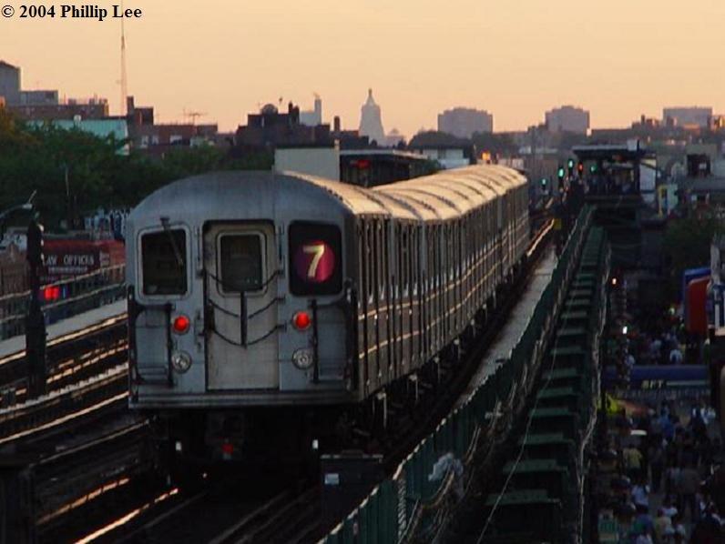 (62k, 796x598)<br><b>Country:</b> United States<br><b>City:</b> New York<br><b>System:</b> New York City Transit<br><b>Line:</b> IRT Flushing Line<br><b>Location:</b> 90th Street/Elmhurst Avenue <br><b>Route:</b> 7<br><b>Car:</b> R-62A (Bombardier, 1984-1987)   <br><b>Photo by:</b> Phillip Lee<br><b>Date:</b> 6/18/2004<br><b>Viewed (this week/total):</b> 0 / 2388