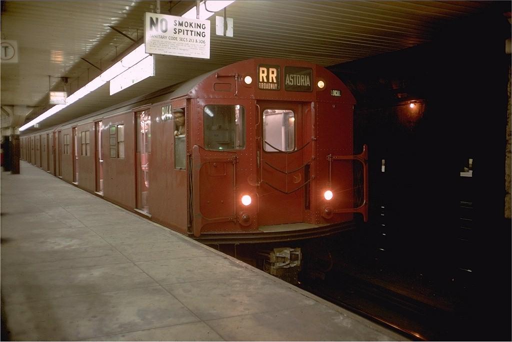 (144k, 1024x685)<br><b>Country:</b> United States<br><b>City:</b> New York<br><b>System:</b> New York City Transit<br><b>Location:</b> DeKalb Avenue<br><b>Route:</b> RR<br><b>Car:</b> R-27 (St. Louis, 1960)  8144 <br><b>Photo by:</b> Doug Grotjahn<br><b>Collection of:</b> Joe Testagrose<br><b>Date:</b> 11/18/1968<br><b>Viewed (this week/total):</b> 0 / 2889