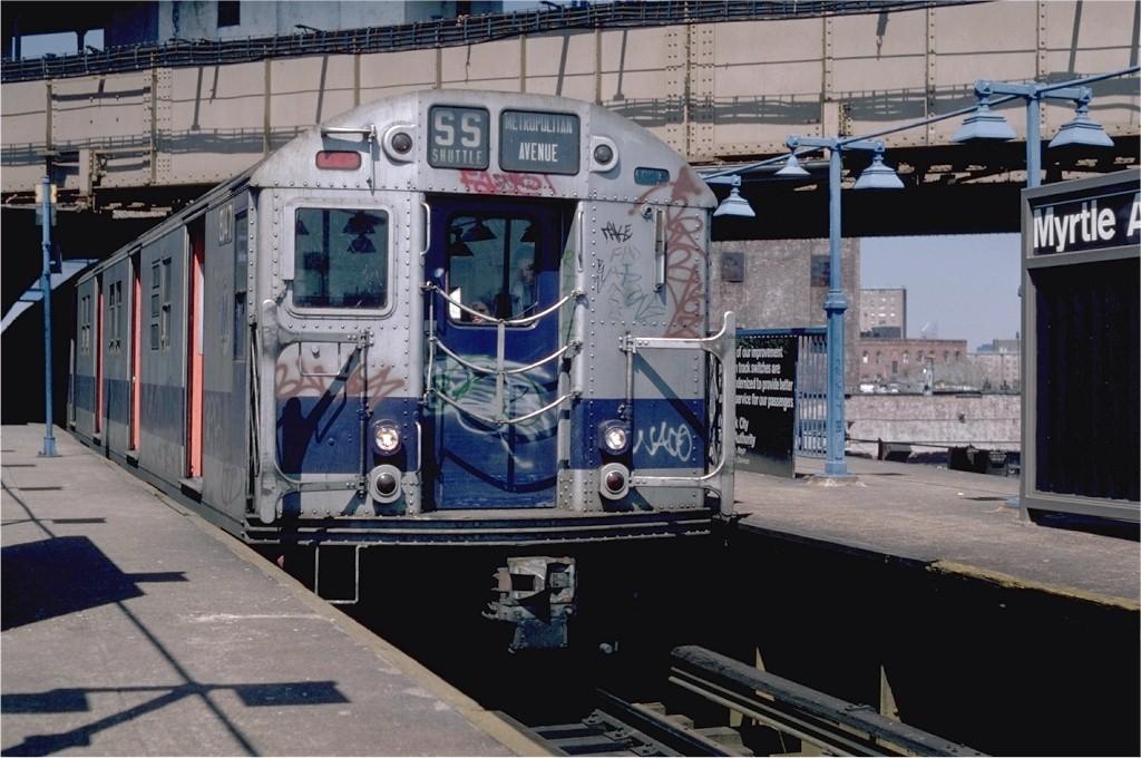 (189k, 1024x680)<br><b>Country:</b> United States<br><b>City:</b> New York<br><b>System:</b> New York City Transit<br><b>Line:</b> BMT Nassau Street/Jamaica Line<br><b>Location:</b> Myrtle Avenue <br><b>Route:</b> M<br><b>Car:</b> R-27 (St. Louis, 1960)  8147 <br><b>Photo by:</b> Steve Zabel<br><b>Collection of:</b> Joe Testagrose<br><b>Date:</b> 4/14/1982<br><b>Viewed (this week/total):</b> 0 / 3090